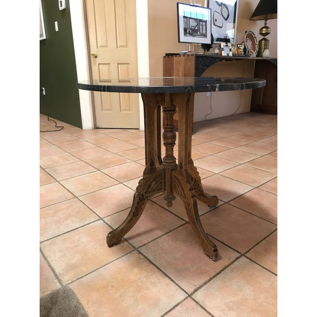 Vintage Marble and Wood Side Table For Sale In Santa Fe - Image 6 of 6