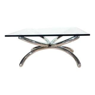Mid Century Modern Chrome Tubular Sculpture Coffee Table For Sale