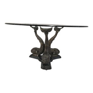 Glass Top & Bronze Koi Garden Table
