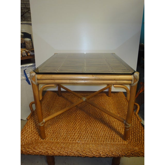 McGuire Rattan Side Table with Original Glass, 1970 - Image 2 of 4