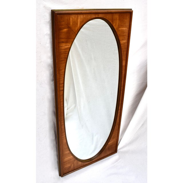 French 1950's White of Mebane Walnut Oval Mirrors - a Pair For Sale - Image 3 of 9