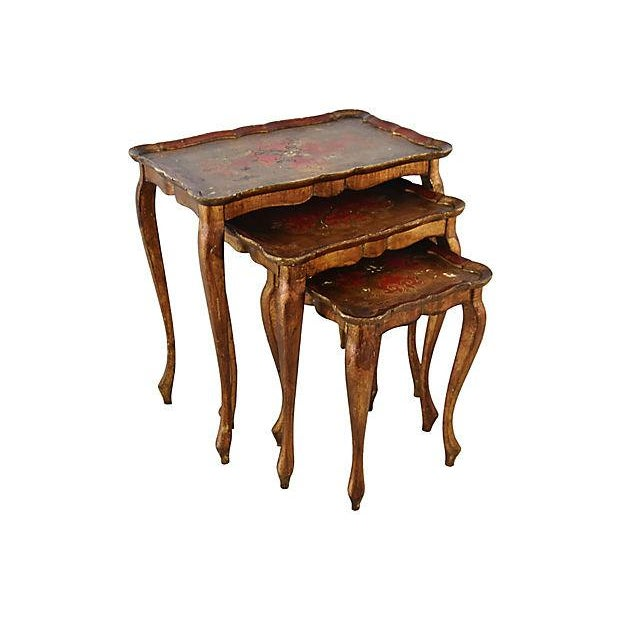 1950s Italian Venetian Florentine Nesting Tables - Set of Three For Sale - Image 9 of 13