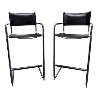 Mart Stam Chrome & Black Leather Bar Stools - Made in Italy For Sale