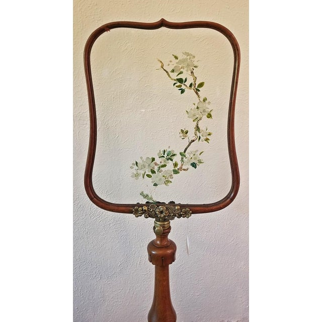 19c Telescopic or Extendable Tripod Based Fire Screen - Walnut With Hand Painted Glass For Sale - Image 12 of 13