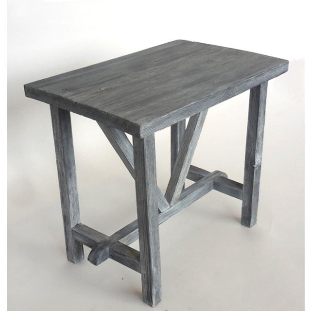 Customizable Reclaimed Wood Side Table For Sale - Image 4 of 7