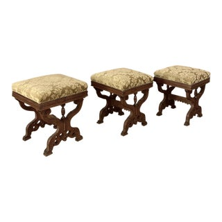Set of 3 Foot Stools, Antique Hand Carved Oak With Mohair For Sale