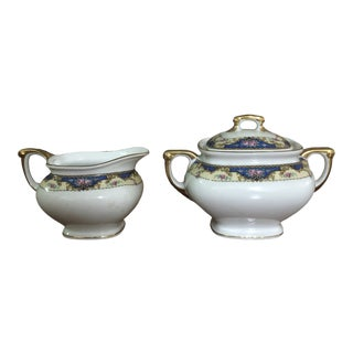 Antique 1920s Sugar Bowl & Creamer - A Pair For Sale