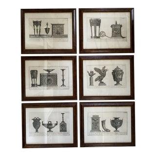 Framed Copper Plate Engravings Antique Prints - Set of 6 For Sale