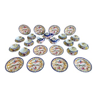 Antique 33 Piece Chinoiserie Style Tea Set With Desert Plates for 10 For Sale