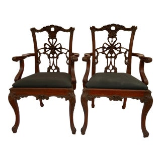 Custom Hand Carved Vintage Ribbon Chairs a Pair For Sale