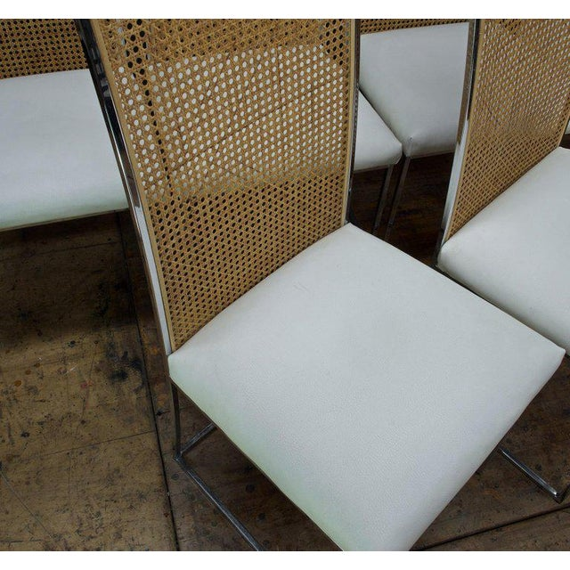 Brown Six 1970s Milo Baughman High Back Cane Chrome Dining Chairs Postmodern Vintage For Sale - Image 8 of 11