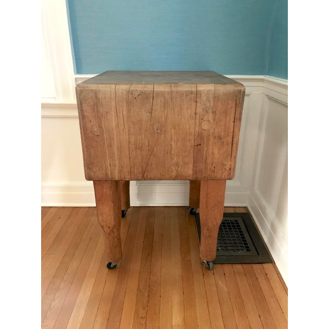 Rustic 20th Century Rustic Wooden Butchers Block For Sale - Image 3 of 5