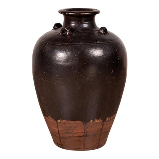 Thai Monochrome Brown Ware Water Jar with Carrying Handle For Sale