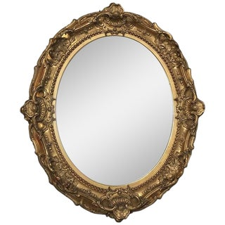 Oval Mirror, 19th Century Gilded Baroque Style For Sale