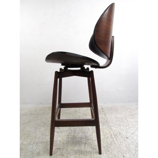Black Mid-Century Modern Clamshell Bar Stools - Set of 3 For Sale - Image 8 of 11