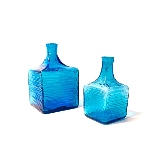Blenko|• 6224l & 6224s Turquoise Blown Art Glass Decanters / Vases by Wayne Husted For Sale - Image 13 of 13