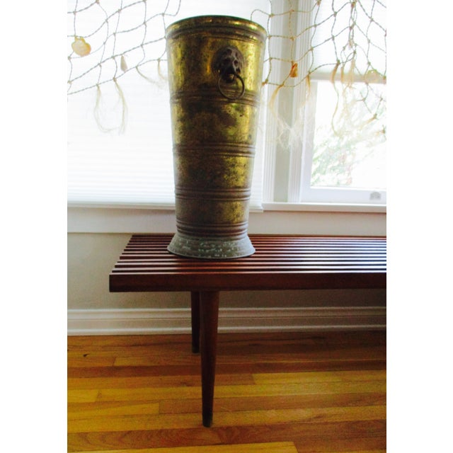 Hollywood Regency Lion Head Brass Umbrella Stand - Image 5 of 10