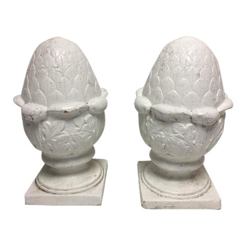Antique Acorn Terracotta Finials - A Pair - Image 1 of 9