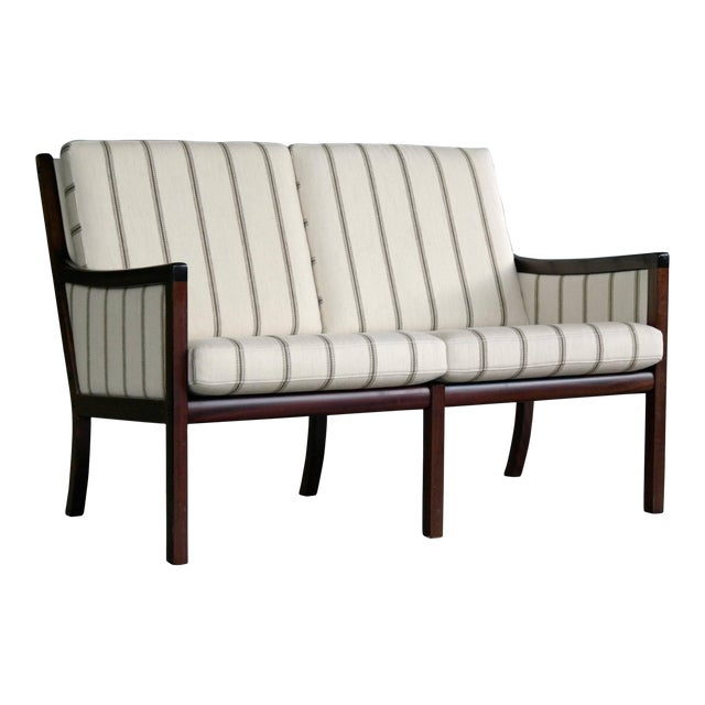 Danish Midcentury Mahogany Settee or Loveseat by Ole Wanscher for Poul Jeppesen For Sale
