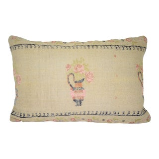 Vintage Handwoven Floral Pattern Kilim Pillow, Lumbar Wool Kilim Pillow, Ethnic Turkish Decor 16'' X 24'' (40 X 60 Cm) For Sale