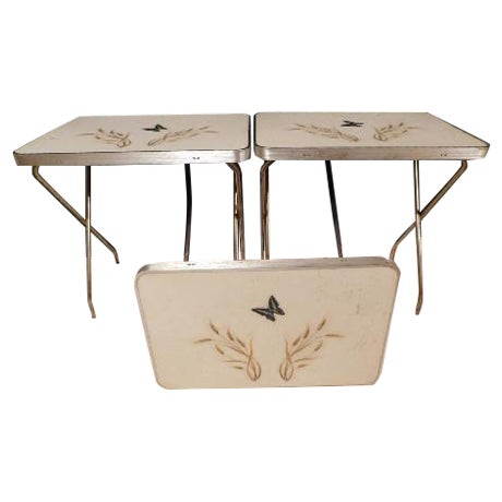 Mid-Century Butterfly/Wheat Design TV Tables - S/3 - Image 1 of 6