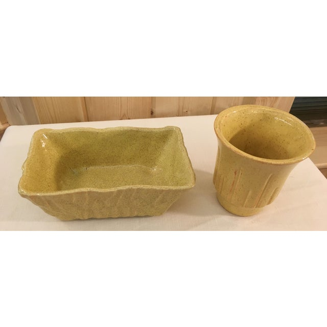 Mid-Century Modern Mustard Speckled Planters - A Pair - Image 3 of 11