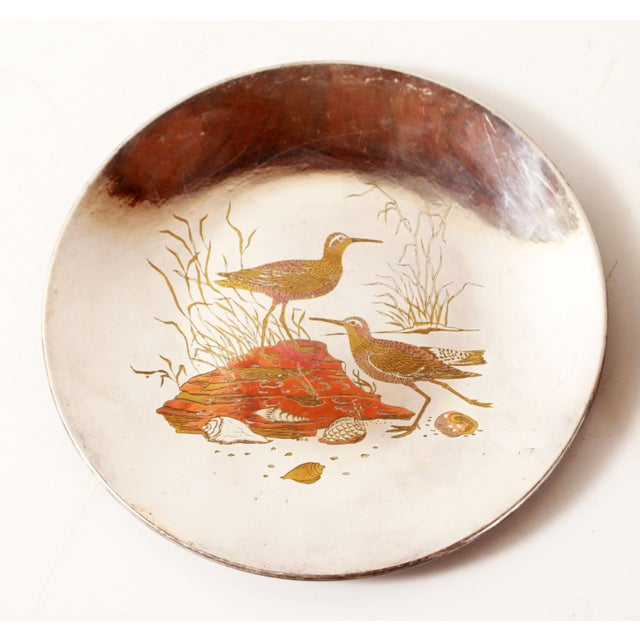 Traditional Silver Plated Mixed Metal Brass & Copper Audubon Plates for Tiffany & Co. - a Pair For Sale - Image 3 of 12