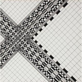Barbara Lewis 1960s Minimal Geometric Ink Drawing 1967 For Sale