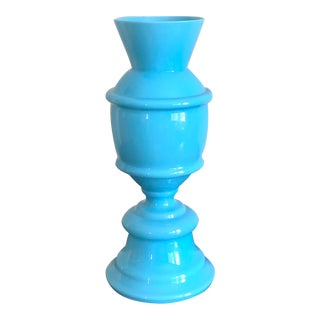 French Blue Opaline Glass Vase For Sale