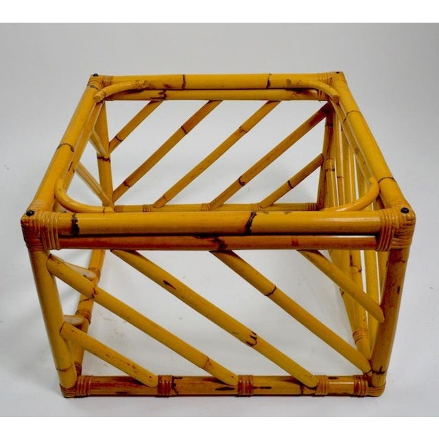Mid-Century Modern Small Square Bamboo Table by Ficks Reed For Sale - Image 3 of 8