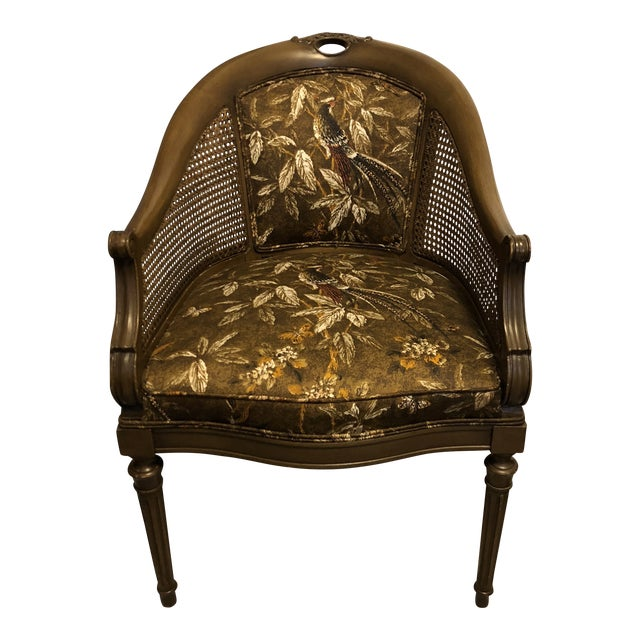 Antique Accent Chair With Caned Side Panels For Sale