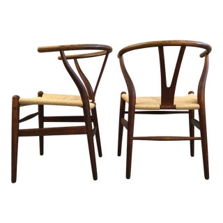 Set of Four Early Hans Wegner Wishbone Chairs For Sale