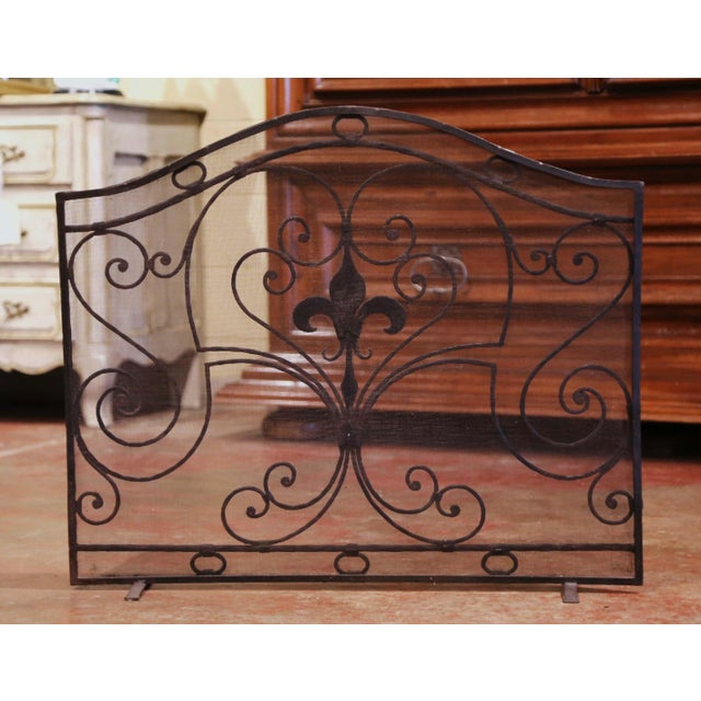 Metal Mid-20th Century French Gothic Wrought Iron Fireplace Screen With Fleur-De-Lis For Sale - Image 7 of 8