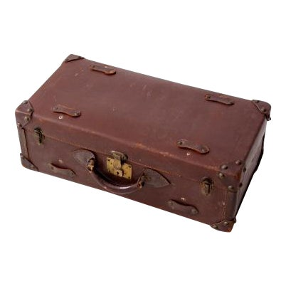 Vintage Brown Leather Suitcase For Sale