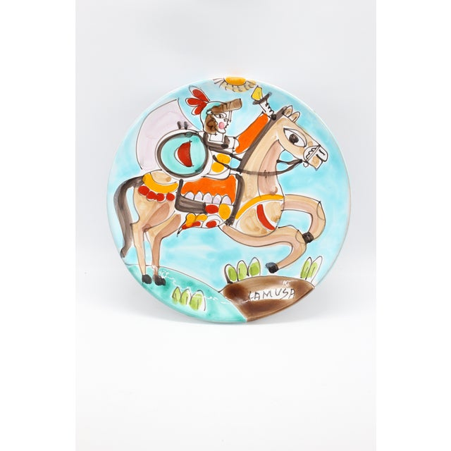 1950s Folk Art La Musa Hand-Painted Sicilian Decorative Plate For Sale In Los Angeles - Image 6 of 6