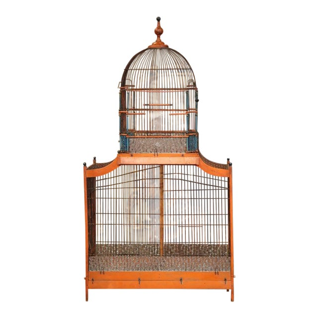 19th Century French Hand-Painted Carved & Wired Birdcage - Image 1 of 8