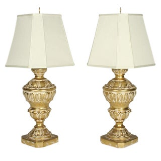 Frederick Cooper Parcel Gilt Plaster Table Lamps - a Pair For Sale