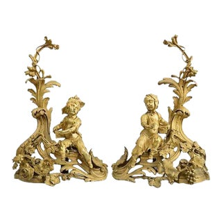 19th Century French Gilt Bronze Figural Chenets Andirons - A Pair
