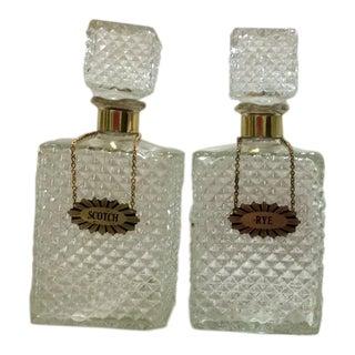 Scotch & Rye Cut Glass Decanters - A Pair
