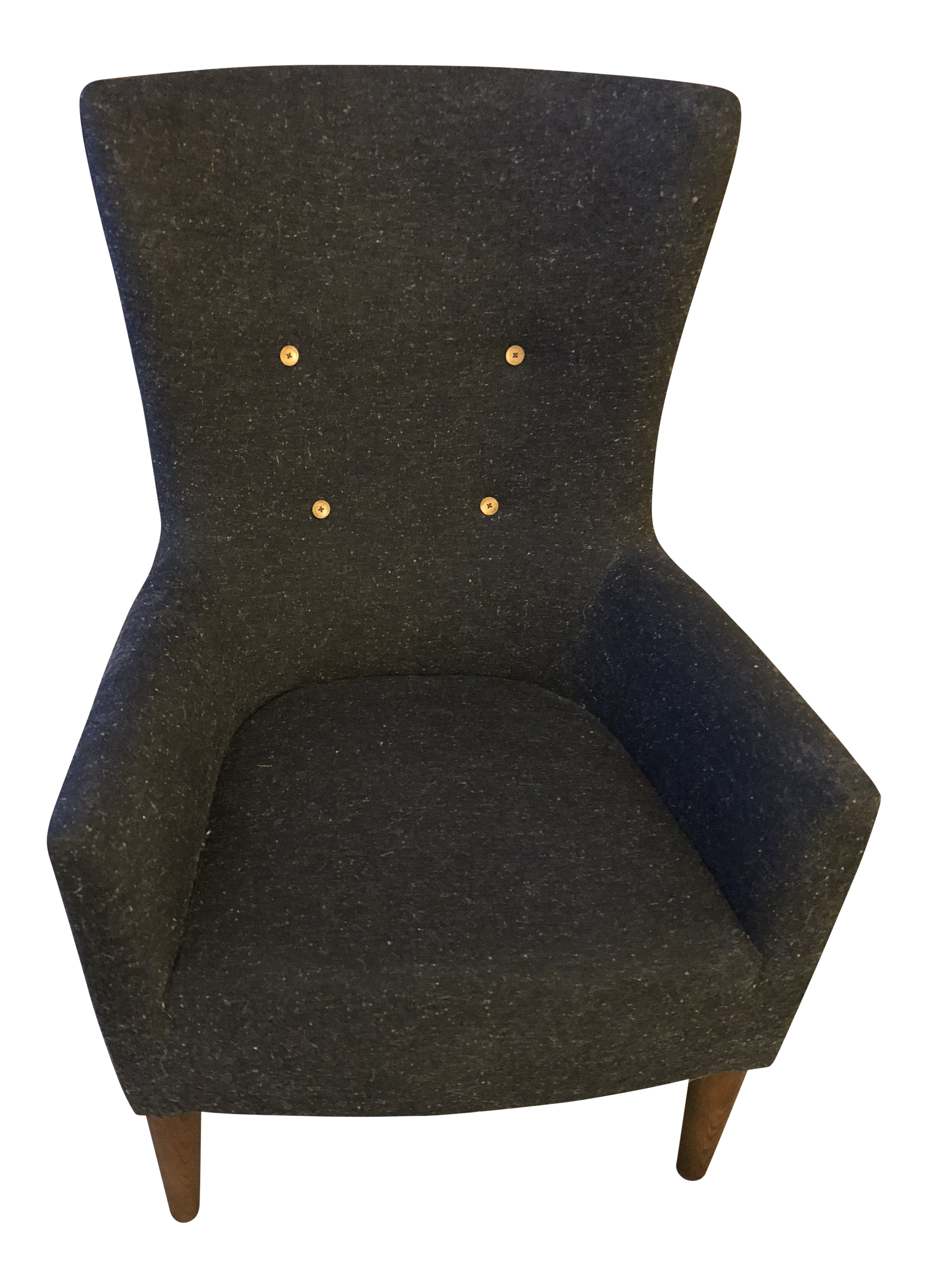 gray wingback chair. Transitional West Elm Victor Gray Wingback Chair