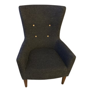 Transitional West Elm Victor Gray Wingback Chair For Sale
