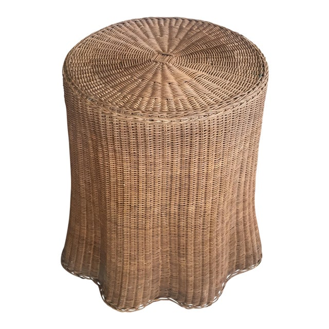 Mid Century Wicker Trompe L'oeil Draped Ghost Table - Image 1 of 8