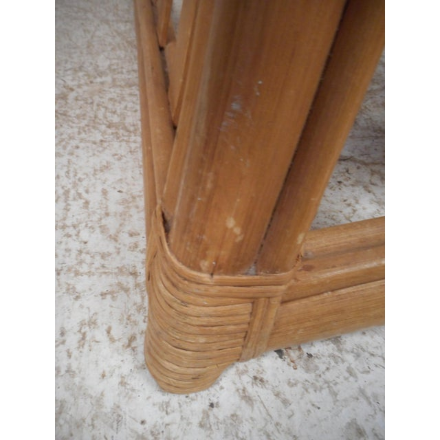 Brown Vintage Modern Bamboo and Glass Console Table For Sale - Image 8 of 12