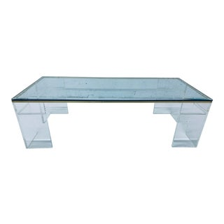 Mid-Century Lucite and Glass Coffee Table, 1970s For Sale