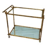 Image of 1970s Hollywood Regency Brass Faux Bamboo & Glass Rolling Bar Cart For Sale
