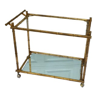 1970s Hollywood Regency Brass Faux Bamboo & Glass Rolling Bar Cart For Sale