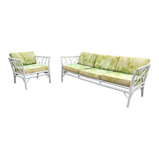 Vintage Meadowcraft Faux Bamboo Sofa & Chair - A Pair