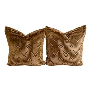 Art Deco Velvet Patterned Accent Pillows - A Pair For Sale