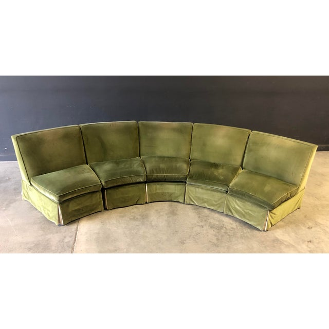 Mediterranean Vintage Velvet Green Sectional For Sale - Image 3 of 10