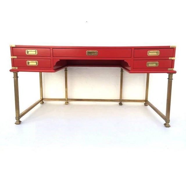 Campaign Vintage Campaign Style Writing Table/Desk Lacquered in Red For Sale - Image 3 of 11